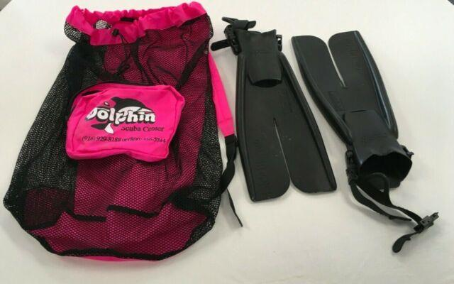 Apollo Xs Professional Black Scuba Diving Fins Nwot With A Pink And Black Bag