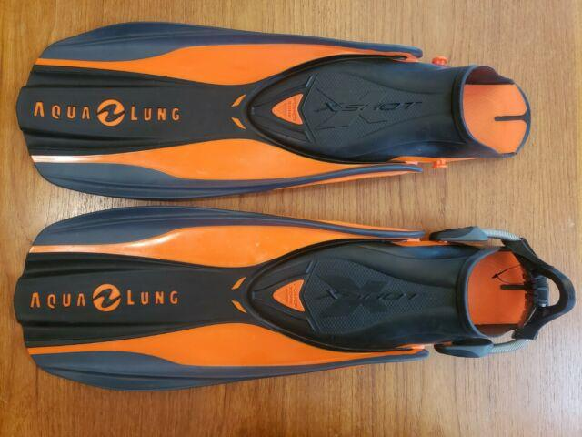 Aqua Lung X Shot Open Heel Scuba Diving Fins With Spring Strap Missing A Strap