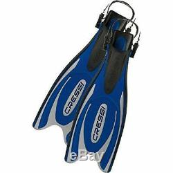 Cressi Frog Plus Open Heel Scuba Dive Fins (Made in Italy), Blue/Silver, M/L-7.5