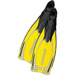 Cressi Reaction Pro Full Foot Scuba Diving Snorkeling Fins YellowithSilver, 38/3