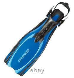 Cressi Reaction Scuba Diving Open Heel Adjustable Fins Made In Italy BLUE L/XL