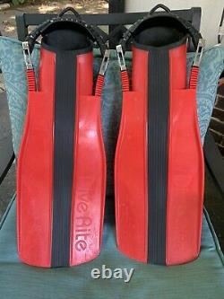 Dive Rite RED XT Scuba Diving Fins with Stainless Steel Spring Heel Straps XL