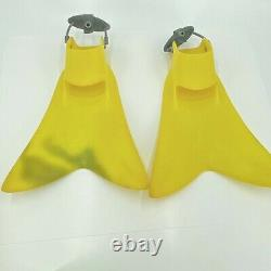Force Fin Yellow Scuba Diving Fins Snorkeling Flippers Size Large Ex Cond