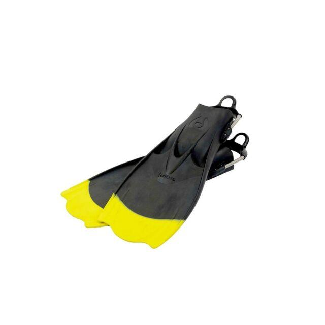 Hollis F1 Bat Fin Yellow Tip Vented Blade Scuba Diving Fin With Spring Strap