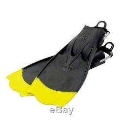 Hollis F1 Bat Fin Yellow Tip Vented Blade Scuba Diving Fin with Spring Strap Lim