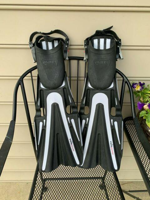 Mares Volo Power Black And Silver Scuba Diving Fins Flippers Size Regular Italy