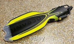 Oceanic Manta Ray Open Heel Scuba Diving Yellow Fins with Spring Straps, Small
