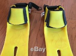 Rare Yellow Force Fin PRO SCUBA Diving Bungee Strap Foil Fin Size Large
