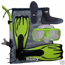 Scuba Dive Silicone Mask Goggle Snorkel Boots Fins Flippers Bag Package Gear Set