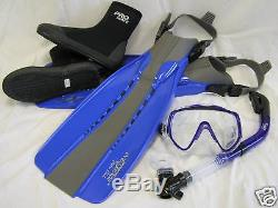 Scuba Diving Silicone Mask Dry Snorkel Boots Fins Set